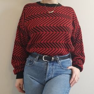 Vintage Black and Red Knit Sweater Large
